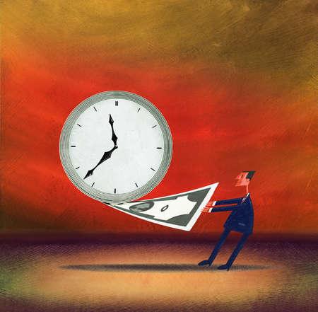 Businessman pulling dollar from clock