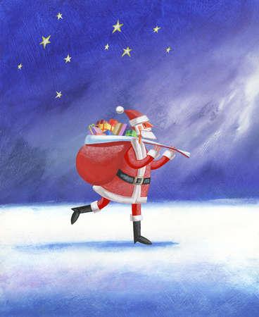 Santa carrying sack of gifts