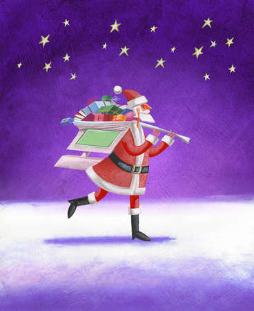 Santa carrying computer-shaped bag of gifts