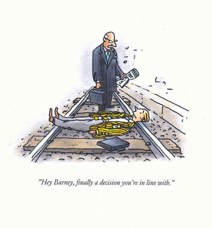 Businessman talking to man laying on railroad tracks