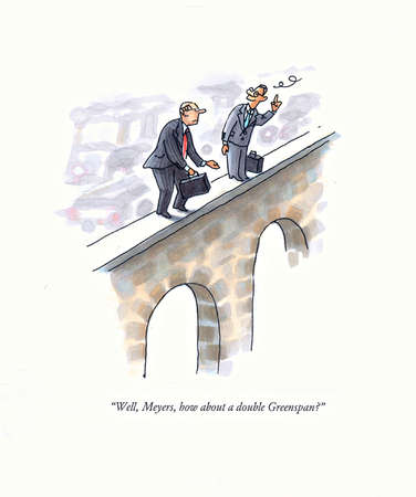 Two businessmen about to jump off bridge