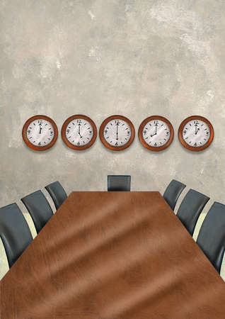 Five clocks on wall in conference room