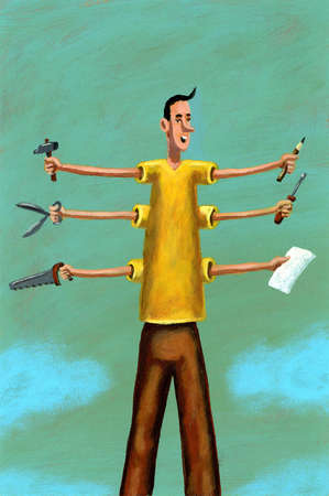 Man with six arms holding various tools