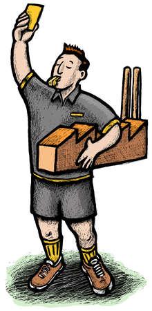 Referee holding miniature factory raising yellow card