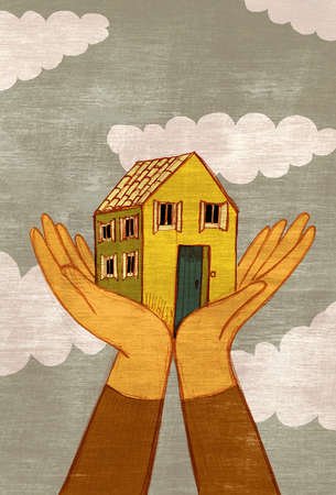 Hands lifting house into the sky