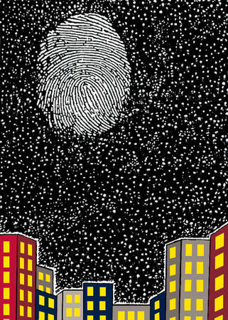 Thumbprint on night sky over cityscape