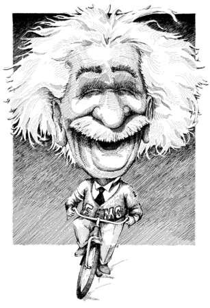 Albert Einstein riding a bicycle