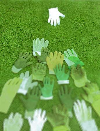 group of gloves surrounding leader