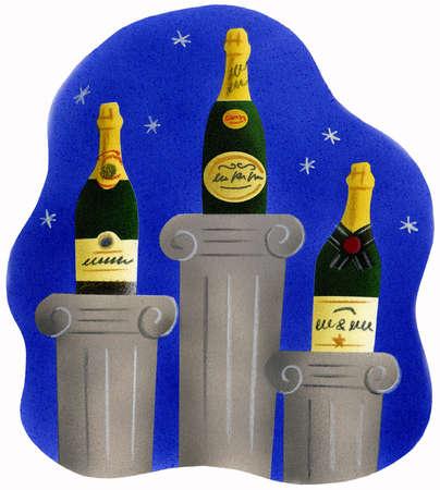 Bottles of champagne on trophy pillars