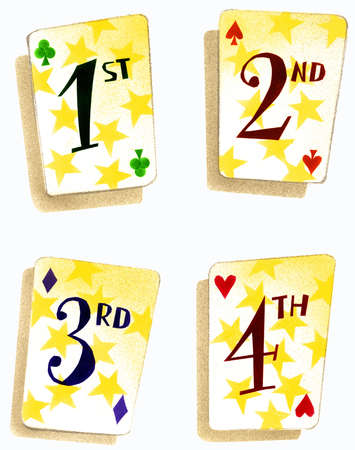 First, second, third and fourth place playing cards