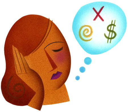 Thought bubble with symbols next to woman with head in hands