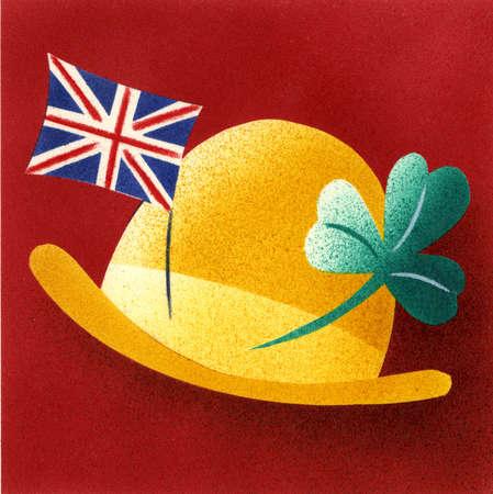 Bowler hat with british flag and shamrock pins