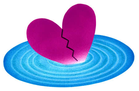 Broken heart in rippling water