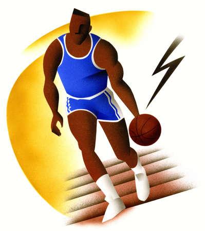 Male basketball player dribbling ball