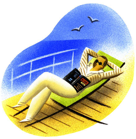 Man with book laying in lounge chair on deck of cruise ship