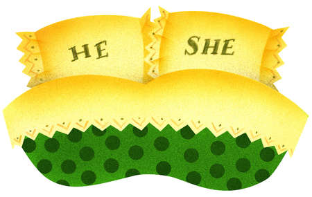 'He' and 'She' pillows on bed