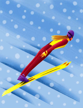 Woman ski jumping