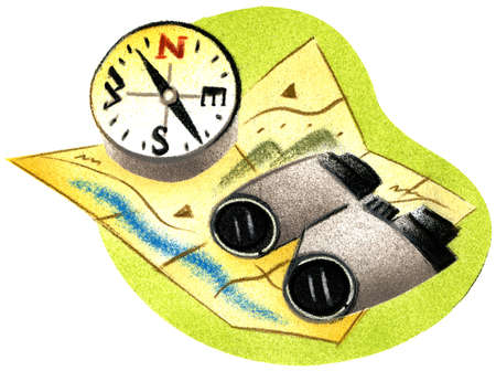 Binoculars and compass on map