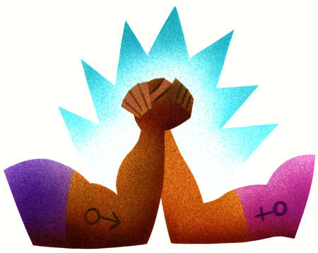 Male and female symbol on couple arm wrestling