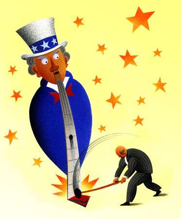 Businessman swinging sledgehammer at Uncle Sam amusement park game