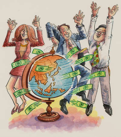 Business people dancing around spinning globe with flying money