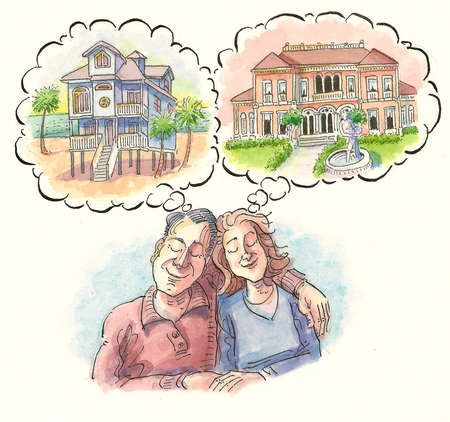 Couple fantasizing about different luxury retirement homes