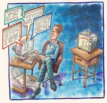 Man viewing multiple web pages online