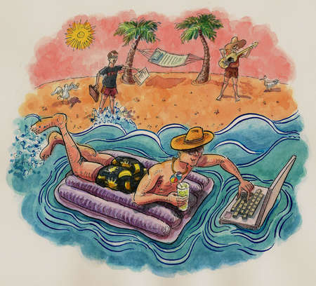 Man on raft in ocean using laptop
