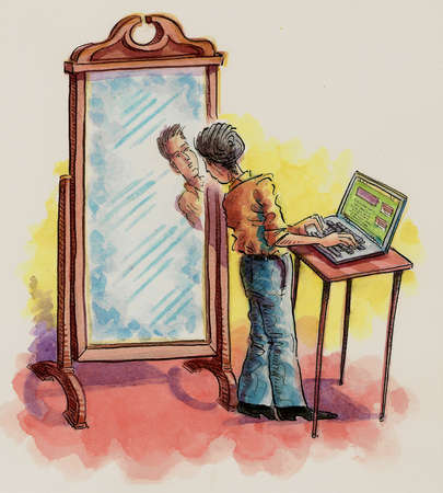 Woman using laptop and peering at man's reflection in mirror