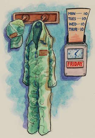 Blue collar uniform hanging near time clock