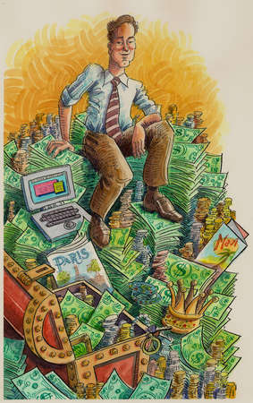 Smiling businessman sitting on pile of money and travel brochures