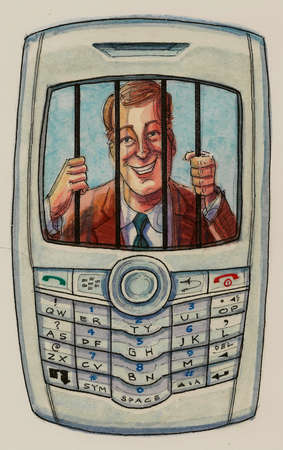 Telemarketer behind bars on cell phone display screen