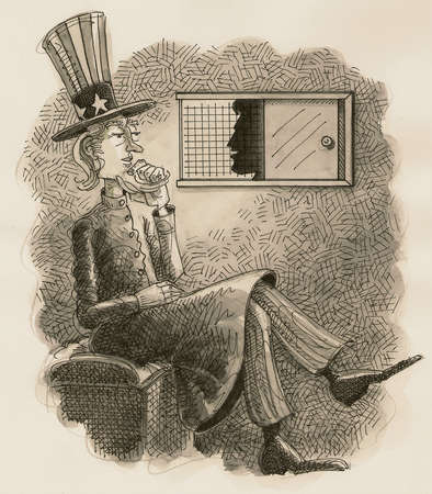 Uncle Sam sitting in confessional