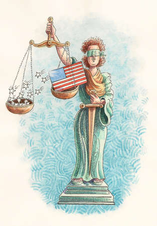 Blindfolded justice statue holding scale with stars falling from American flag
