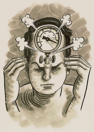 Frustrated man with steaming pressure gauge in head