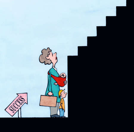 Working mother looking up at staircase with 'Success' arrow