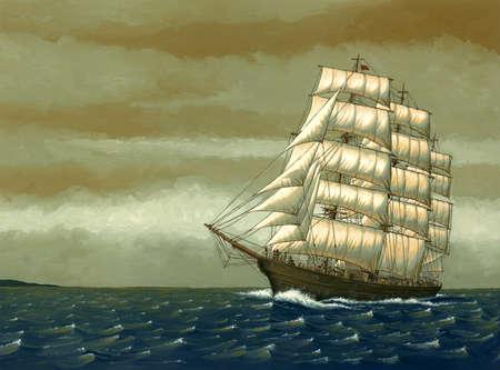Old-fashioned ship on sea