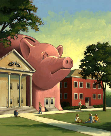 Large piggy bank building on college campus