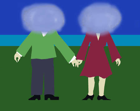 Couple with obscured faces holding hands