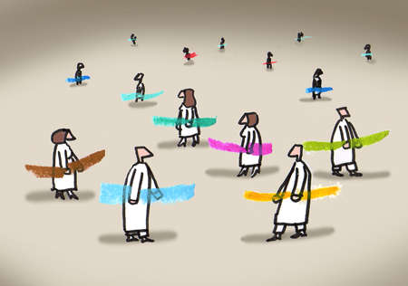 People in robes holding colored sticks