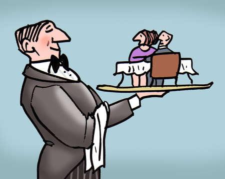 Waiter holding couple at restaurant table on platter