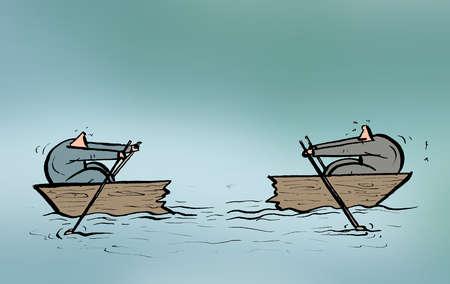 Businessmen rowing split ends of boat