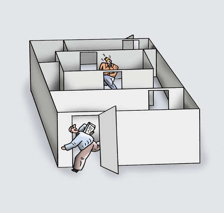 Man escaping labyrinth with papers