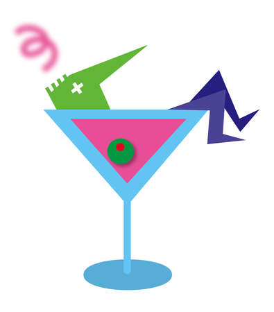 Drunk man in large martini glass