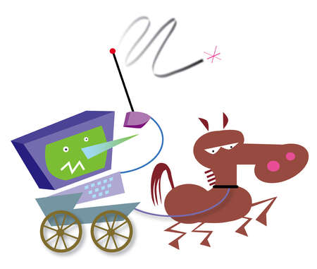 Horse pulling computer with whip in cart