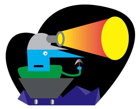 Miner in cart wearing headlamp
