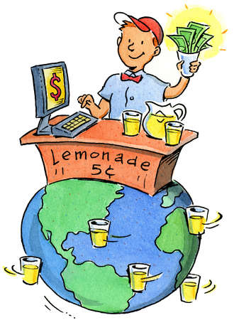 Boy operating lemonade stand on globe