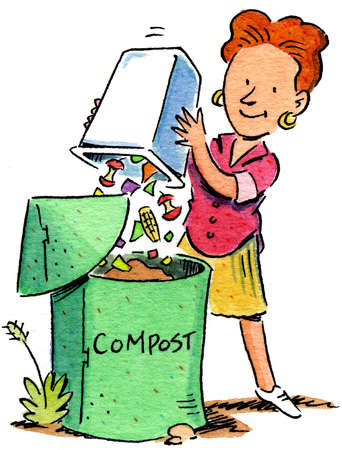 Woman emptying garbage into compost