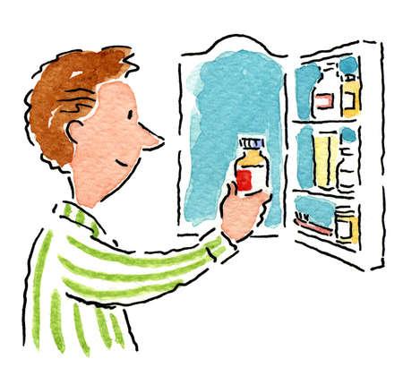 Man examining bottle from medicine cabinet