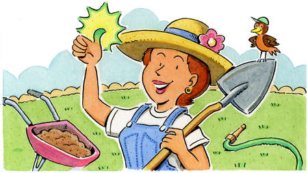 Smiling woman with green thumb in garden